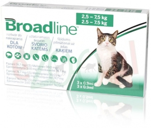 BROADLINE KOT 3 X 0,9 ML ( 2,5 KG DO 7,5 KG ) ( ekto i endo pasożyty )