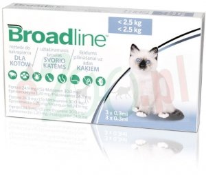 BROADLINE KOT 3 X 0,3 ML ( DO 2,5 KG ) ( ekto i endo pasożyty )