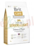 BRIT CARE SENIOR LIGHT GRAIN FREE SALMON  POTATO 3 KG ( pies bezzbożowa łosoś ziemniaki geriatria )